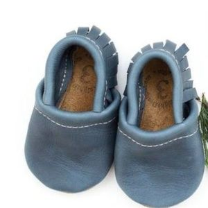 Other - Unisex Leather Moccasin Baby Shoes - Denim